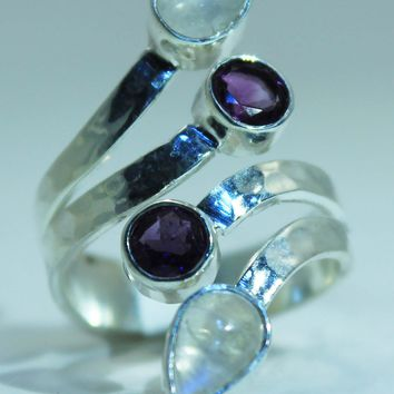Sterling Silver Rainbow Moonstone & Amethyst ring