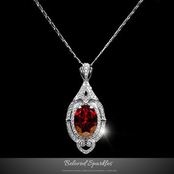 Adela Vintage Art Deco Ruby Red Pendant Necklace  | 27 Carat | Cubic Zirconia Hotel.