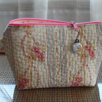 Quilted Cosmetic Bag/Handmade Cotton Quilted Cosmetic Bag/Quilted Toiletry Bag/2 Hold Cosmetics/2 Hold Make up/2 Hold Beauty Products