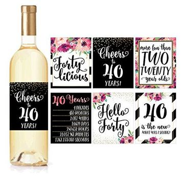 6 40th Birthday Wine Bottle Labels or Stickers Present 1978 Bday Milestone Gifts For Her Women Cheers to 40 Years Funny Fortylicious Pink Black Gold Party Decorations For Friend Wife Girl Mom