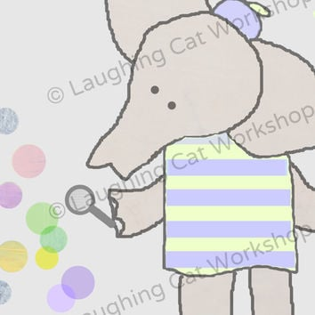 Elephant nursery wall decor Babar baby boys room wall art baby girls room wall decor bubbles nursery decor new baby gift  playroom poster