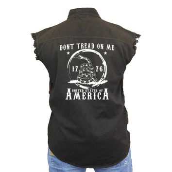 Men's Sleeveless Denim Shirt Dont Tread On Me USA Of America