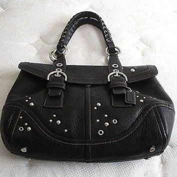 Coach Studded Black Leather Expandable Flap Business Tote Bag Purse Satchel RARE