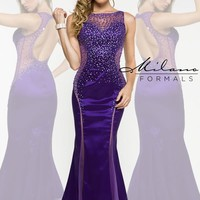 Milano Formals Beaded Long Purple Dress E1879