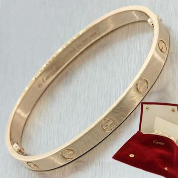 Authentic Cartier Love 18k Rose Gold New Style Screw Bangle Bracelet wPouch Sz18