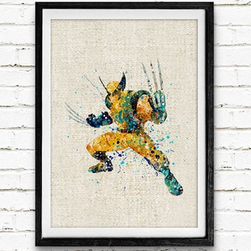 Wolverine Watercolor Print, Marvel Superhero Watercolor Poster, Boys Room Wall Art, Home Decor, Not Framed, Buy 2 Get 1 Free!