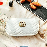 GUCCI Fashion New Leather Leisure Chain High Quality Shopping Shoulder Bag Women White