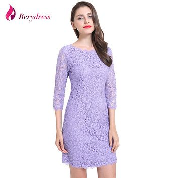 Berydress Elegant Women Full Zipper Sexy V Back 3/4 Sleeve Sheath Bodycon Wedding Party Floral Lace Dresses Short