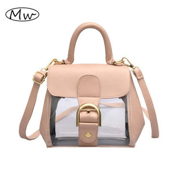 2017 New Fashion PVC Pink Transparent Buckle Doctor Bag Brand Designer Clear Plastic Handbag Women Shoulder Messenger Bags