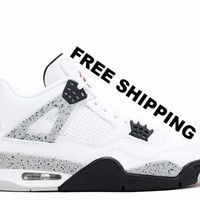 "[FREE SHIPPING] Air Jordan 4 ""Cement"" Basketball Shoes 840606 192"