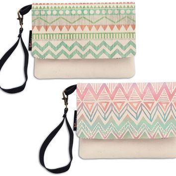 Women Aztec Patterns Beige Printed Canvas Wallet Clutch Purse WAS_12
