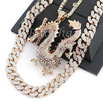 "MEN 14K GOLD PT DRAGON 18"" TENNIS CHAIN 16"" 30"" CHOKER CUBAN CHAIN S31G"