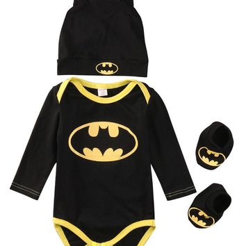2016 baby Boys clothes Set Cool Batman Newborn Infant Baby Boys Romper+Shoes+Hat 3pcs