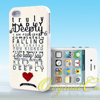 One Direction Truly Madly Deeply - Print on hardplastic for iPhone 4/4s and 5 case, Samsung Galaxy S3/S4 case.