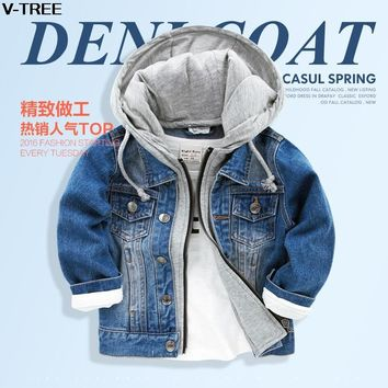 Trendy V-TREE Boy cowboy jacket 2017 new spring & autumn Korean children's clothing  baby girls fashion denim toddler jacket2-9T AT_94_13