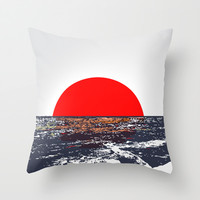 Ocean view with red sun illustration Throw Pillow by Nicholas Ellinas