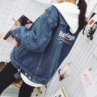 Balenciaga Women Simple Stripe Print Long Sleeve Denim Cardigan Jacket Coat