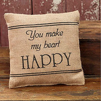 You Make My Heart Happy - French Flea Market Burlap Accent Throw Pillow 8-in x 8-in