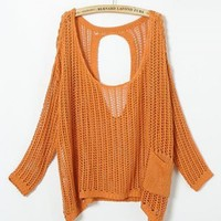 Orange Hollow Out Bat Sleeve Sweater $55.00