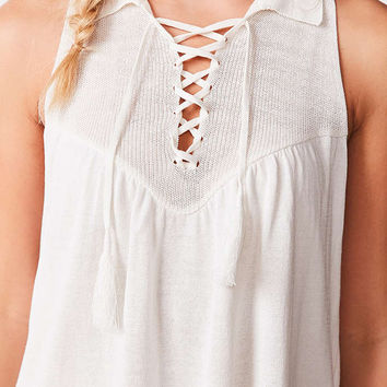 Ecote Lace-Up Swing Polo Tank - Urban Outfitters