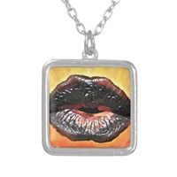Goth Kiss Black Lipstick Original Abstract Art Silver Plated Necklace