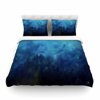 "888 Design ""Blue Night Forest"" Blue Black Featherweight Duvet Cover"