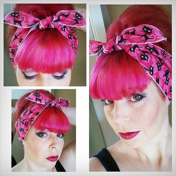 Black Kitties on Sparkly Pink one sided WIDE Headwrap Bandana Hair Bow Tie 1950s Vintage Style - Rockabilly - Pin Up - For Women, Teens