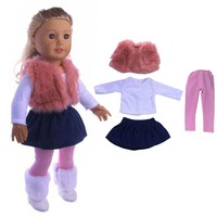 4pcs a set American girl doll winter coat dress and legging for 18 inch doll