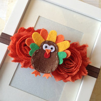 Thanksgiving headband-turkey headband -orange headband-infant headband-girls headband-fall headband