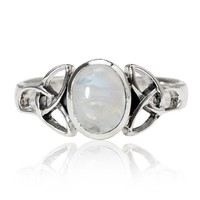 925 Sterling Silver 9 mm Genuine White Oval Moonstone Celtic Band Ring - Nickel Free Size 7