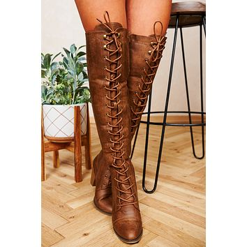 Just Enough Lace Up Thigh High Boots (Tan)