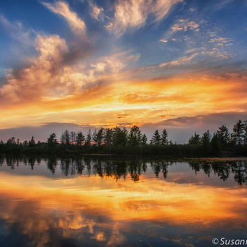 Nature Photography, Sunset Colors at Chippewa Flowage, Lake, Clouds and Reflection, Matted Fine Art Print, Blue and Orange, Home Decor