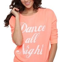 French Terry Mid Crop Top with Dance All Night Screen and Stones