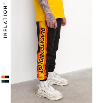 New Autumn Men Pants Letter Printing Side Stripe Elastic Waist Vintage Mens Sweatpants