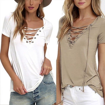 Summer European Fashion Lace Up T Shirt Women Sexy V Neck Hollow Out Top Casual Basic Female T-shirt Plus Size