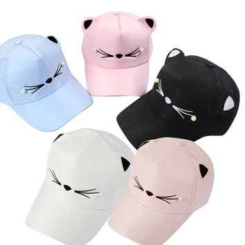 2018 NEW Fashion Student Cat Ears Visor Tide Pearl Wild Cute For Women  Stranger things Spring Baseball Cap Hats YL-NEWKawaii Pokemon go  AT_89_9