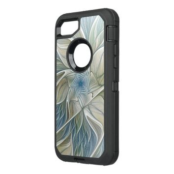 Floral Dream Pattern Abstract Blue Khaki Fractal OtterBox Defender iPhone 8/7 Case