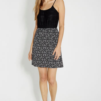 ethnic print dress with lace top