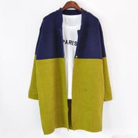 Retro Mosaic Long Sleeve Cardigan Knit Outerwear