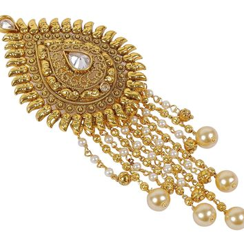 Much More Indian Traditional Gold Tone Crystal Stone Hair Pin Hair Accessories Jewelry for Womens