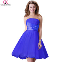 Grace Karin Cocktail Dresses Black White Blue Yellow Short Formal Gowns Off Shoulder Voile Satin Pretty Cocktail Party Dresses