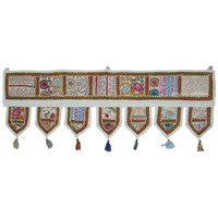 White Vintage Tribal Bohemian Patchwork Window Valance Topper on RoyalFurnish.com