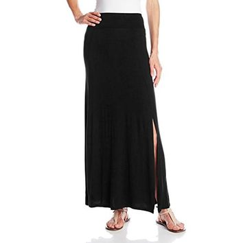 eric + lani Womens Solid Side Slit Maxi Skirt