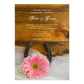 Pink Daisy and Horseshoe Country Wedding Invite from Zazzle.com