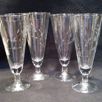 Princess House Heritage Pilsner Glasses, Etched Beer Glasses, Fluted Pilsner Glasses, Fluted Champagne Glasses  (1368)
