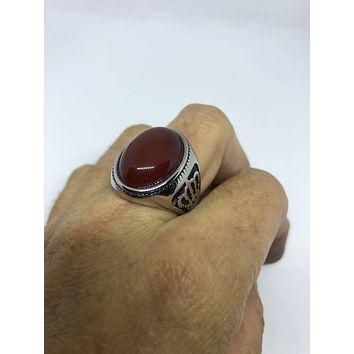 Vintage 1980's Gothic Silver Genuine Red Carnelian Crown Men's Ring