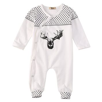 2017 Hot Newborn Baby Girl Boy Clothes Long Sleeve Cotton Deer Pattern Romper Jumpsuit Playsuit Outfits 0-18M