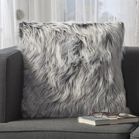 Priscilla Silver Gray Furry Throw Pillow