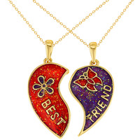 """Gold Tone Best Friends Forever Butterfly Flower Heart Pendant Necklace 19"""""""