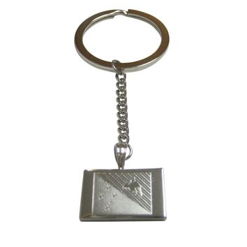 Silver Toned Etched Papua New Guinea Flag Pendant Keychain